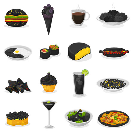 Black food vector blackish cooking meal with blacked pasta or rice and blacken drinks blackjack illustration blackness set of dark dessert ice cream or cake isolated on white background