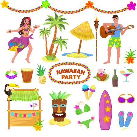 Personaje de mujer o hombre de vector de fiesta de Hawaii en playa hawaiana con palmeras tropicales y exóticos cócteles afrutados en conjunto de ilustración de vacaciones de verano de máscara y surf aislado sobre fondo blanco.