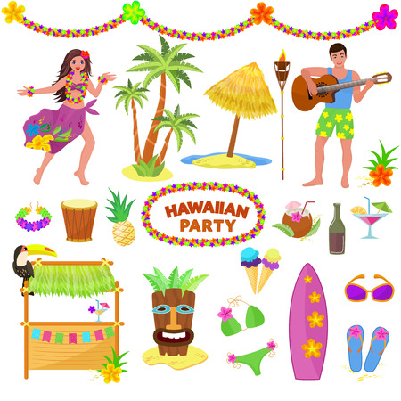 Hawaii party vector woman or man characterr on hawaiian beach with tropical palm and exotic fruity cocktails on summer vacation illustration set of mask and surf isolated on white background. Illustration