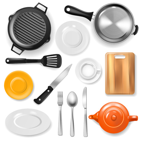 Pan vector kitchenware or cookware for cooking food with kitchen utensil cutlery and plate illustration set of dishware and frying-pan or pot isolated on white background. Stock Illustratie