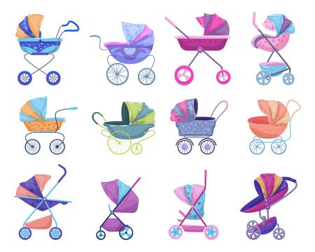Poussette vectorielle poussette et poussette enfantine avec landau pour enfants ou ensemble d'illustrations de voiture d'enfants de poussette pour nouveau-né avec roue et poignée isolée sur fond blanc. Vecteurs