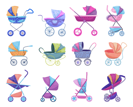Stroller vector baby-stroller and childish buggy with pram for children or kids carriage illustration set of baby-buggy for newborn with wheel and handle isolated on white background.