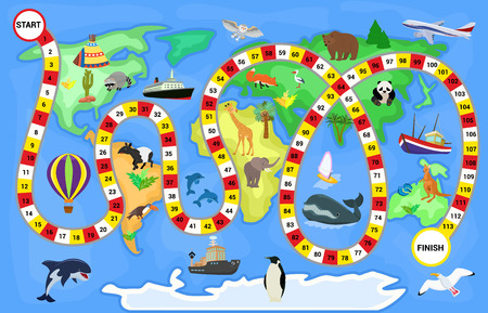 Board game vector cartoon kids boardgame on world map background with playing path or way starting in ocean and finishing in continent on children illustration.