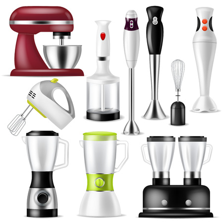 Blender vector juicer machine or mixer equipment blending juice and electric shaker appliance illustration set of kitchen homeappliance for mixing drink isolated on white background. Standard-Bild - 111801308