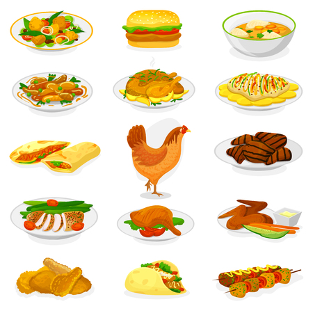 Chicken vector cartoon chick character hen and food chicken-wings with fried potatoes and barbecue meat for dinner illustration set of fastfood burger and french fries isolated on white background. Illustration