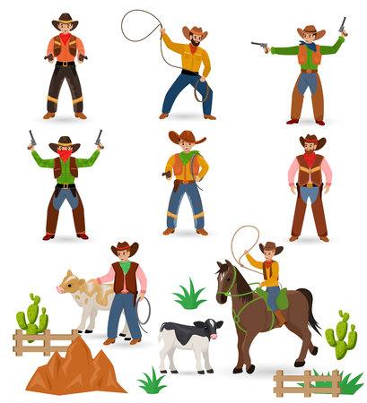 Vaquero vector occidental vaquero o sheriff del salvaje oeste firma sombrero o herradura en el desierto de vida silvestre con ilustración de cactus carácter salvajemente caballo para rodeo conjunto aislado sobre fondo blanco. Ilustración de vector