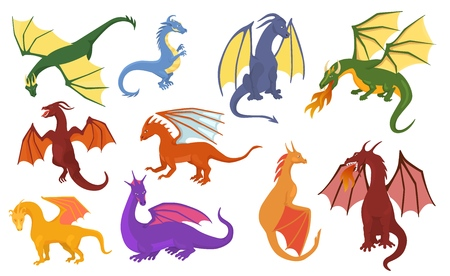 Dragon cartoon vector cute dragonfly dino character baby dinosaur for kids fairytale dino illustration childish set isolated on white background. Illustration
