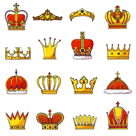 Crown vector golden royal jewelry symbol of king queen and princess illustration sign of crowning prince authority and crown jeweles set isolated on white background.
