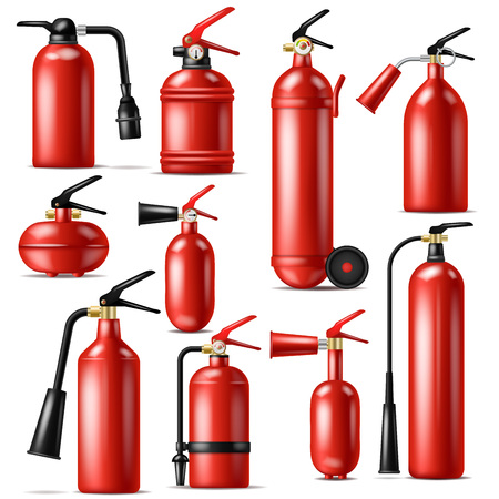Fire extinguisher vector protection to extinguish flame with fire-extinguisher illustration set of extinguishing equipment of firefighter isolated on white background. Vectores