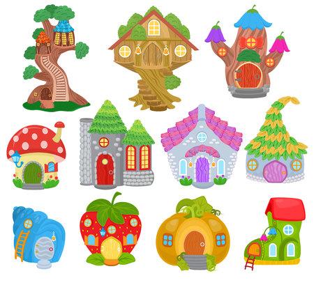 Fantasie huis vector cartoon fairy boomhut en magische huisvesting dorp illustratie set kinderen sprookjesachtige pompoen of aardbei speelhuisje voor gnome geïsoleerd op witte achtergrond