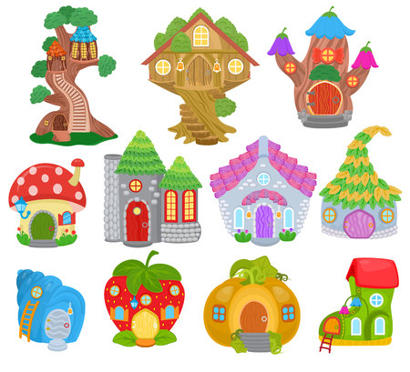 Fantasy house vector cartoon fairy treehouse and magic housing village illustration set of kids fairytale pumpkin or strawberry playhouse for gnome isolated on white background Vettoriali