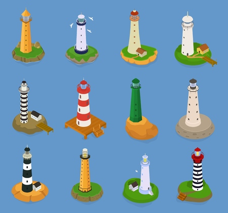 Lighthouse vector beacon lighter beaming path of lighting from seaside coast illustration set of lighthouses isolated on marine background.