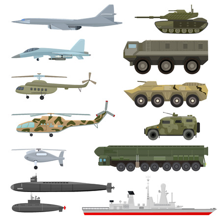 Military technics vector army transport plane and armored tank or helicopter illustration technical set of armored aviation and armoured submarine isolated on white background.