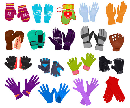Glove vector woolen xmas mittens and protective pair of gloves illustration set of boxxing-gloves or knitted mitts clothes for hand fingers isolated on white background. Stock Vector - 111690392