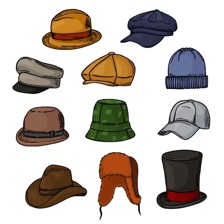 Man hat vector fashion clothing headgear or male headwear and elegant gentleman accessory illustration headset of head-wear or head-dress isolated on white background.