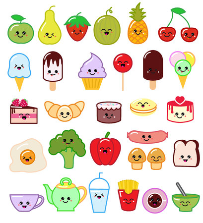 Kawaii food vector emoticon japanese fruit or vegetable character and emoji dish with cartoon sausage in Japan restaurant illustration set of facial emotions isolated on white background.