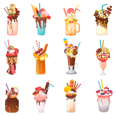 Milkshakes vector healthy ice-cream drink in glass or fresh milk beverage mix in bottle illustration set of icecream juice in glassful or jar isolated on white background.