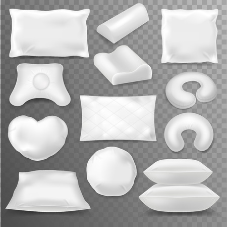 Pillow vector soft pillow-block with white pillowcase or blank pillowslip illustration pillow-shaped set isolated on transparent background.