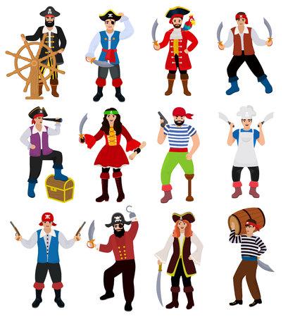 Pirate vecteur personnage pirate homme boucanier en costume de piratage au chapeau avec jeu d'illustration épée de piraterie marin personne isolée sur fond blanc