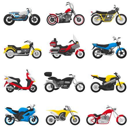Motorfiets vector motor en autorijden cyclus rit vervoer chopper illustratie motorrijden set scooter motor fiets geïsoleerd op een witte achtergrond. Vector Illustratie