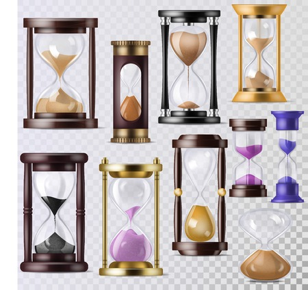 Sandglass vector glass clock with flowing sand and hourglass clocked in time illustration clocking alarm timer to countdown time set isolated on transparent background.