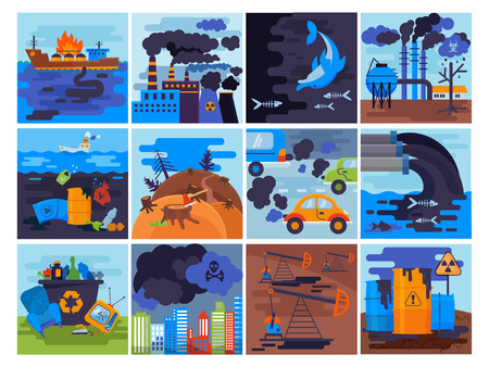 Pollution environment vector polluted air smog or toxic smoke of industrial city illustration cityscape set of environmental damage of factory and transportation exhaust or pollutant garbage. Vetores