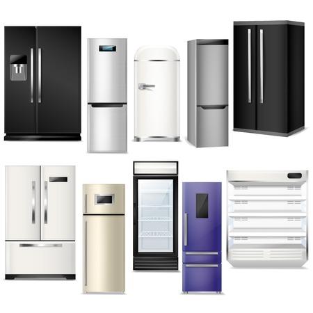Lodówka wektor lodówka lub zamrażarka i sprzęt chłodniczy w kuchni ilustracja zestaw chłodniczych urządzeń gospodarstwa domowego na białym tle.