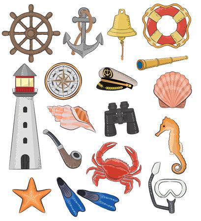 Sea vector marine or nautical symbols lighthouse and ship wheel or sailboat anchor or lifebuoy illustration maritime set of seahorse and seashell isolated on white background