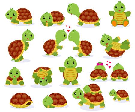 Personaje de tortuga marina de dibujos animados de vector de tortuga nadando en el mar y jugando tortuga en conjunto de ilustración de tortuga de reptil escondido en tortuga aislado sobre fondo blanco
