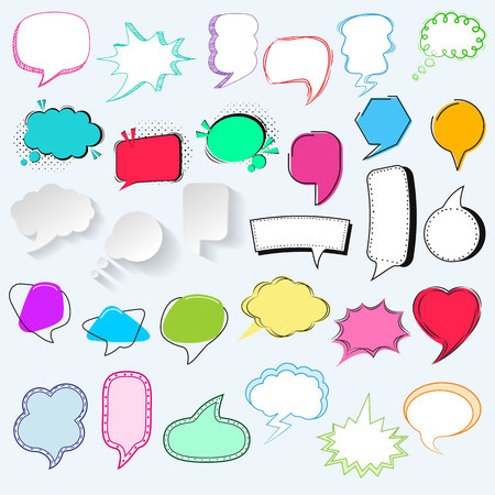 Bubbles vector blank speech bubbling messages for communication or dialog set of cartoon bubbly chat balloon think or talk isolated on white background illustration. Illustration