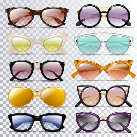 Glasses vector cartoon eyeglasses or sunglasses in stylish shapes for party and fashion optical spectacles set of eyesight view accessories illustration isolated on transparent background.