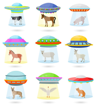 Ufo vector alien spaceship or spacecraft and spacy ship with animal character cat or pig illustration set of spaced sbeam of mystery transport in universe space isolated on white background. Illustration