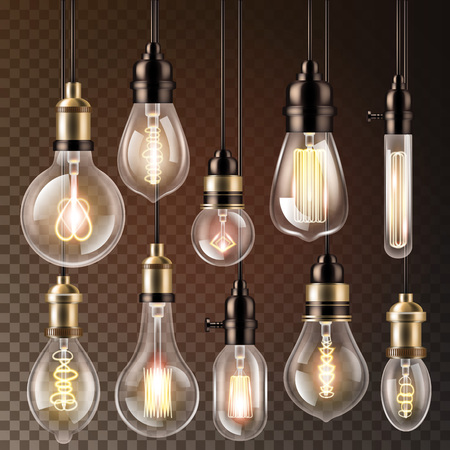 Light bulb vector lightbulb idea solution icon and electric lighting lamp cfl or led electricity and fluorescent light illustration set isolated on transparent background. Stock Vector - 111557936