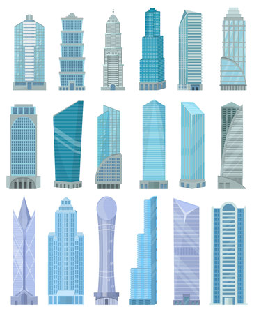 Building skyscraper in cityscape vector city skyline and business officebuilding of commercial company and build architecture to high sky set illustration isolated on white background Çizim