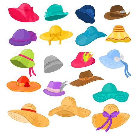 Donna cappello vettoriale moda abbigliamento copricapo o copricapo estivo e auricolare illustrazione accessorio elegante femminile di signora copricapo o copricapo da ragazza isolato su priorità bassa bianca.