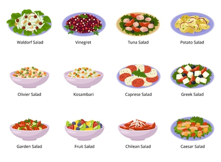 Salad vector healthy food with fresh vegetables tomato or potato in salad-bowl or salad-dish for dinner or lunch illustration set of organic meal isolated on white background. Stock Illustratie
