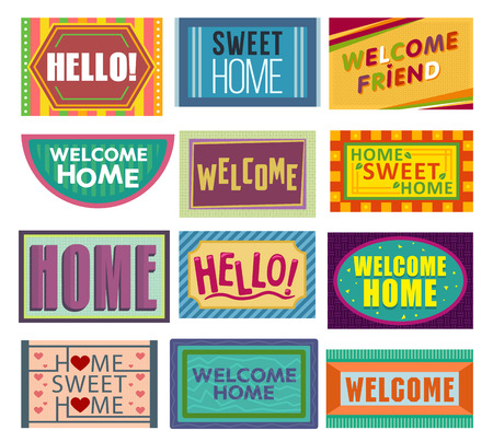 Home mat vector welcome doormat in front of house entrance and doorway matting rug for visitors illustration household set of homecoming welcomed enter decoration isolated on white background.