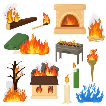 Fire flame vector fired flaming bonfire in fireplace and flammable campfire illustration fiery set of flamy torchlight or lighting flambeau isolated on white background.