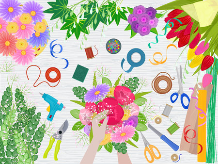 Floristics vector florists hands making beautiful floral bouquet and arranging flowers in flowershop illustration of flower arrangement table and flowering workspace on flowered background.