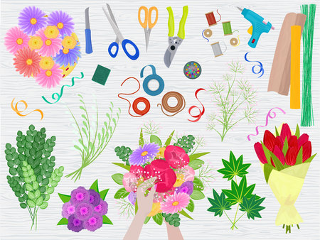 Floristics vector florists hands making beautiful floral bouquet and arranging flowers in flowershop illustration of flowering arrangement table with tools scissors on flowered background.