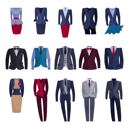 Vestito di affari vettoriale uomo d'affari o donna d'affari aziendale vestiti adatti illustrazione set di abbigliamento codice di abbigliamento manager o lavoratore in ufficio isolato su priorità bassa bianca. Vettoriali
