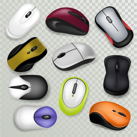 Computer mouse vector pc clicking device with buttons or scroll technology illustration set of realistic click optical tool with scrolling cursor or mice isolated on transparent background. 일러스트