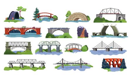 Vector de puente puenteó la arquitectura de cruce urbano y la construcción de puentes para el conjunto de ilustración de transporte de construcción de puentes sobre el río con calzada aislada sobre fondo blanco.
