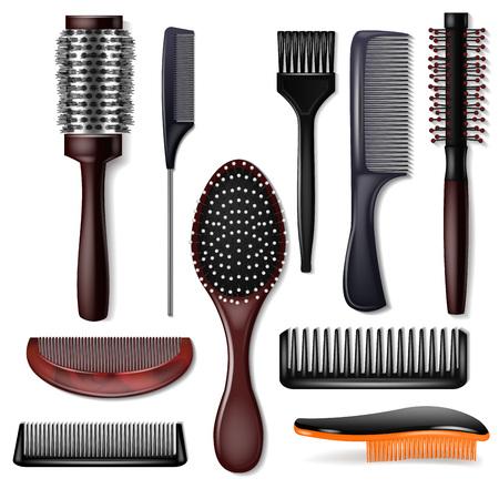 Szczotka do włosów wektor grzebień fryzjerski lub szczotka do włosów i akcesoria do pielęgnacji włosów w salonie fryzjerskim ilustracja zestaw narzędzia fryzjer fryzjerski na białym tle.