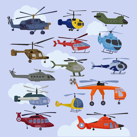 Helicopter vector copter aircraft jet or rotor plane and chopper flight transportation in sky illustration aviation set of aeroplane and airfreighter cargo with propeller isolated on background.