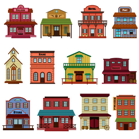 Saloon vector wild west building e western cowboys house or bar in street illustration wildly set of country landscape with architecture hotel store in town isolated on white background.