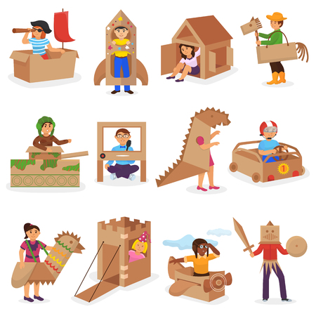 Kids in box vector creative children character playing in boxed house and boy or girl in carton plane or paper ship illustration set of childish package creativity isolated on white background