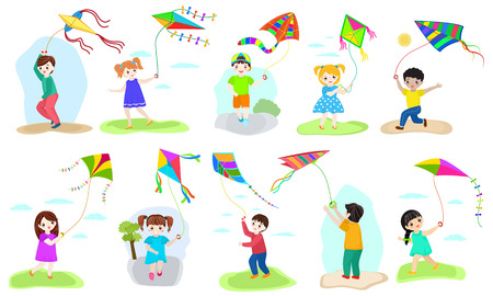 Kids kite vector child character boy and girl playing childly kiteflying activity illustration set of children with kites game isolated on white background. Ilustração