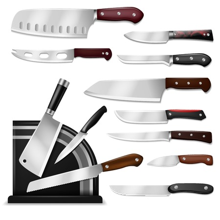 Knives vector butcher meat knife set chef cutting with kitchen drawknife or cleaver and sharp knifepoint illustration isolated on white background. Stock fotó - 109844883