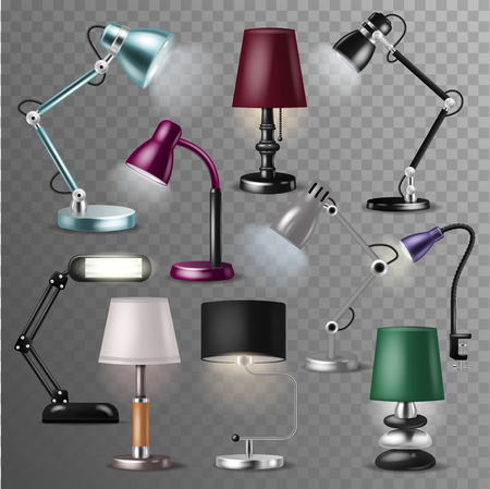 Table lamp vector desklamp and realistic reading-lamp for electric lighting decoration in office or hotel illustration set of relectricity equipment with lightbulb isolated on transparent background.